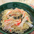 海藻サラダとカニカマの冷し中華