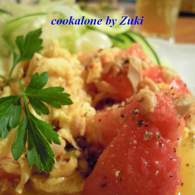 トマトとツナと卵の炒めもの
