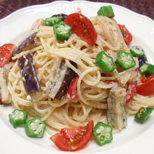 茄子とパプリカのたらこソース冷製パスタ(レシピ付)
