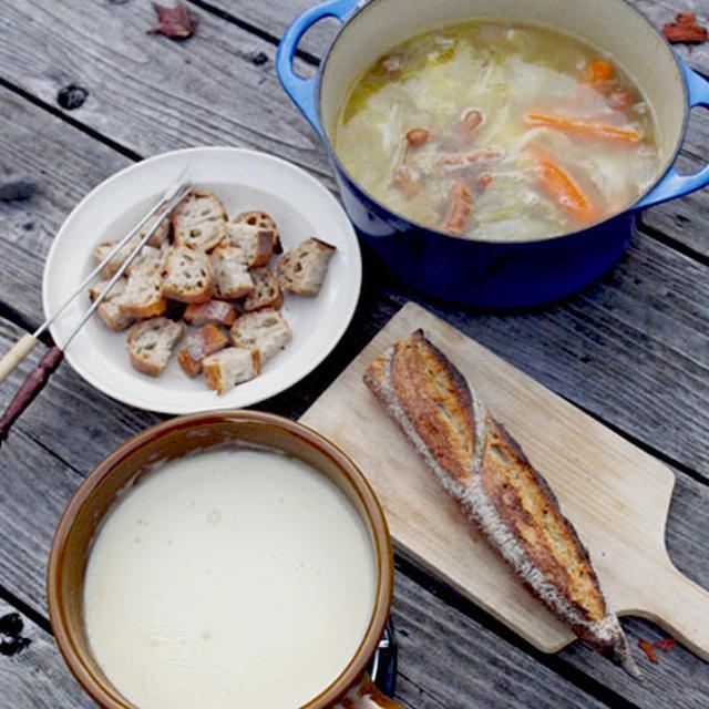 オートキャンプ料理♪♪自家製ブーケガルニのポトフdeチーズフォンデュ