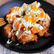 鶏肉と半熟卵の韓国風ソースあえ*夜更かし中の惨事