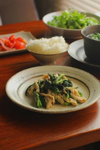 鶏肉と空芯菜の新生姜炒め