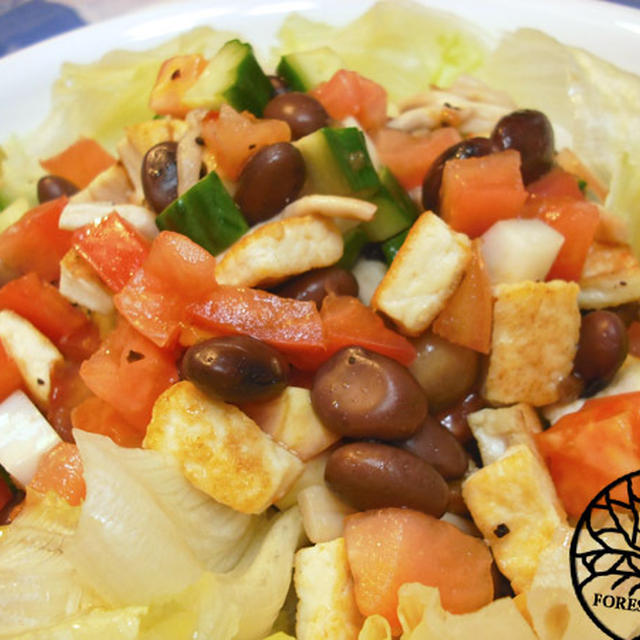 オニオンドレッシングがけ豆腐と黒豆のサラダ