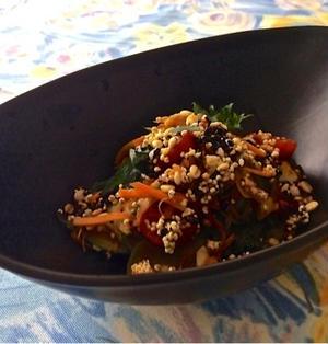 揚げた雑穀の食感最高❤︎『千切り野菜のカリカリ雑穀サラダ』★雑穀はトッピング♬