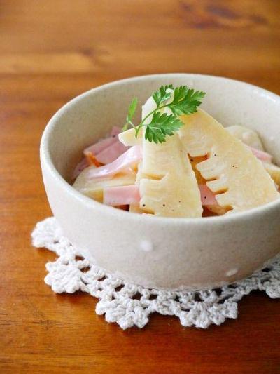 たけのこの白だしクリームチーズあえ♪旬のたけのこ簡単3分レシピ!たけのこのゆで方・あく抜き・下処理
