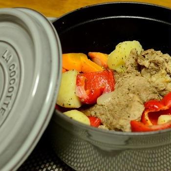 豚ロースと春野菜のストウブ蒸し