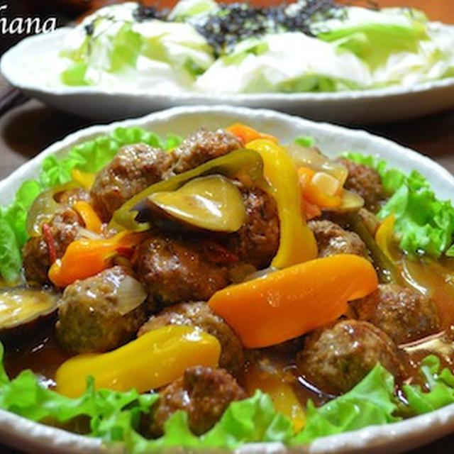 たっぷり野菜と肉団子の甘酢餡かけ♬