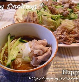 さっぱり!!豚肉ときゅうりのせ 梅ドレッシングつゆの素麺