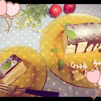 ある物で。グリルパンで簡単バナナのプリンの小さなケーキ。とpen。