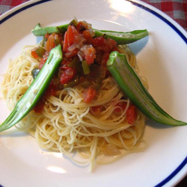 食欲がなくっても、夏野菜の冷製パスタ