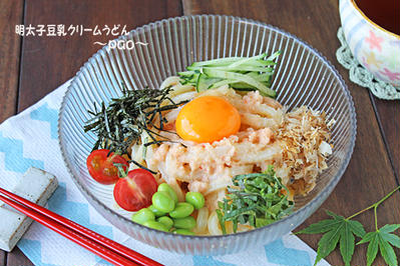 明太子豆乳クリームうどん☆レンジで簡単和えるだけ~
