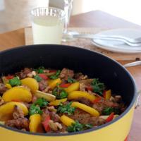 味噌豚と柿の雑穀パエリア