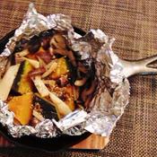 南瓜と茸のバター蒸し焼き