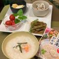 「パクパクの暮らしのおかゆ発芽玄米」をアレンジして珍しくお粥で夕食~手作りスィーツは栗のテリーヌ