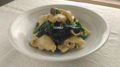 ご飯が進む♪ほうれん草と鶏胸肉のオイマヨ炒め