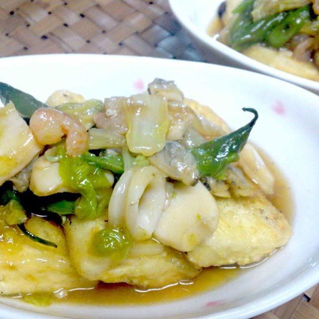 【レシピ】(リメイク)白菜のシーフードあんかけ煮込み⇒豆腐ステーキのシーフードあんかけ(^^♪