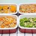 【簡単な作り置き4品】南瓜とツナの煮物/春雨サラダ/切り干し大根の煮物/無限ピーマン