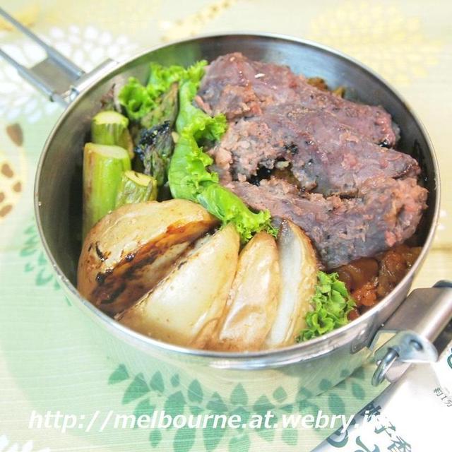 地産地消 -お弁当はステーキ乗っけ味噌炒飯-