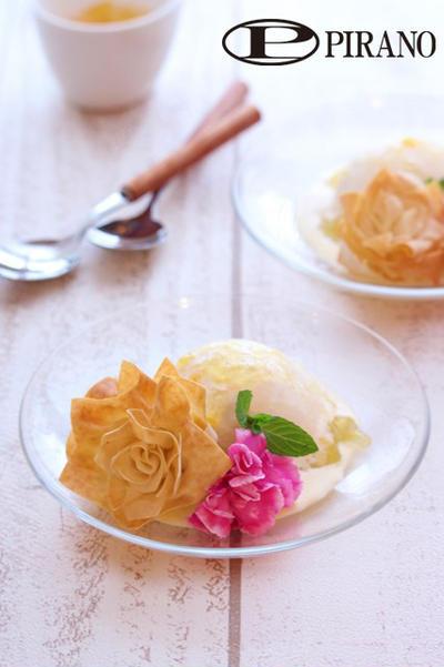 母の日にもお勧め♪お花のカリカリ春巻きとアイスクリーム♪