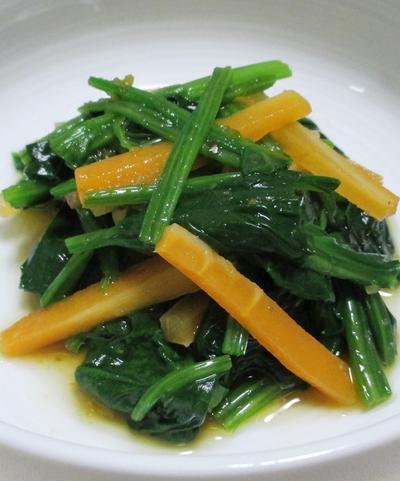 ほうれん草とにんじんの麺つゆ柚子こしょう和え
