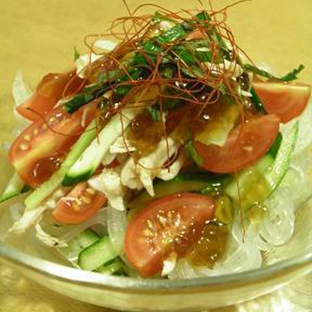 「ハウスのっけてジュレ」で、夏野菜とくずきりのサラダ♪