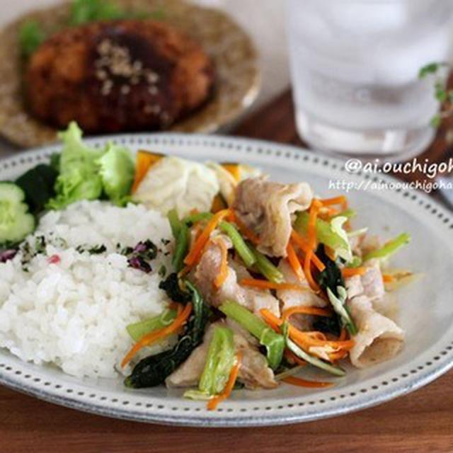 常備していたナムルと千切りサラダを使って簡単な炒め物でワンプレート*