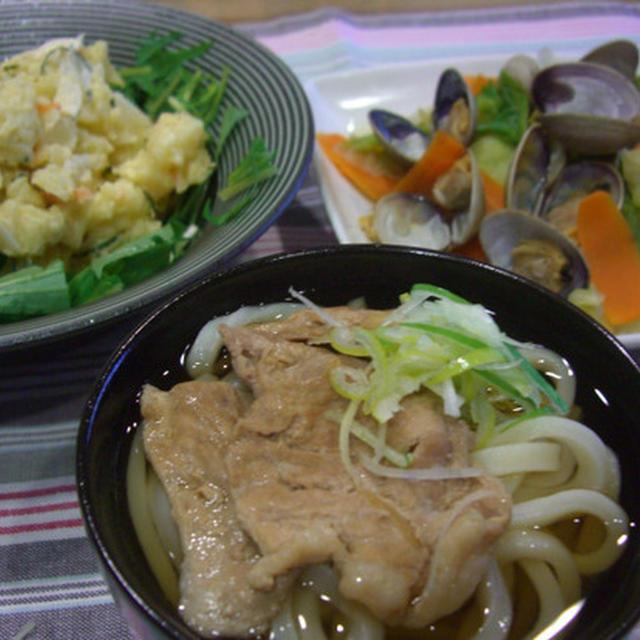 肉うどん&アサリと野菜酒蒸し