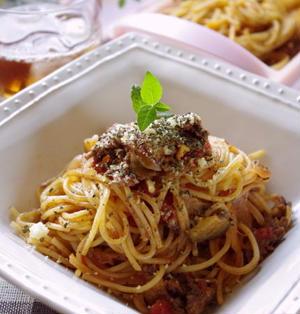 ルクエスチームケースで!なすのミートソーススパゲティ