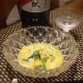 鱧の子と三つ葉の卵とじ、炙りもろこしと空豆、とうもろこしご飯のおかかがけ