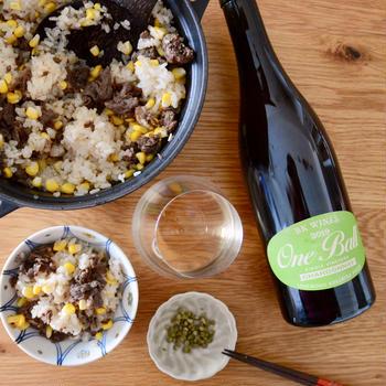「トウモロコシと牛肉のご飯に実山椒の塩漬け」とワイン