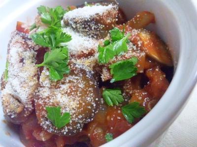 ナスと新玉ねぎのトマト煮