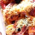 ズッキーニとパプリカ、えびのハーブパン粉焼き。