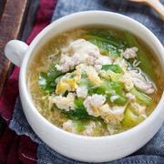 キャベツとひき肉のかき玉とろみスープ【#簡単 #時短 #節約 #包丁不要 #とろみづけ不要 #おかずスープ #スープ】