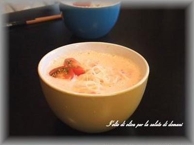 アレンジそうめん★トマ豆乳スープ