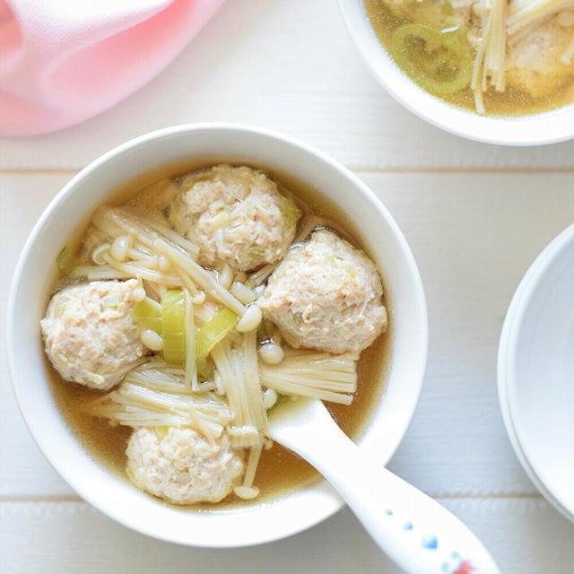 【おもてなし】鶏だんごとえのき茸の中華スープ♡シメはおじや!アスリートにもお薦めです♪