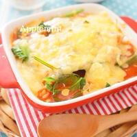 【レンジ&トースターで簡単10分!】野菜ジュースと焼鳥缶の焼きチーズリゾット