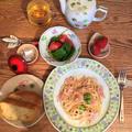 ベーコンと芽キャベツの明太子クリームパスタ