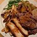 野郎飯流・いろいろ野菜と牛薄切り肉の焼き盛り、胡麻白味噌大蒜醤油ソースがけ