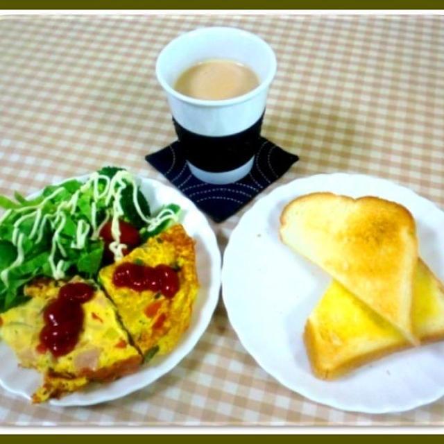 スペインオムレツ風で朝ご飯