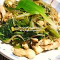 <鶏胸肉と菜花(女池菜)とうるいともやしの炒め物(塩麹入り)>