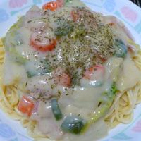 野菜のクリームパスタ
