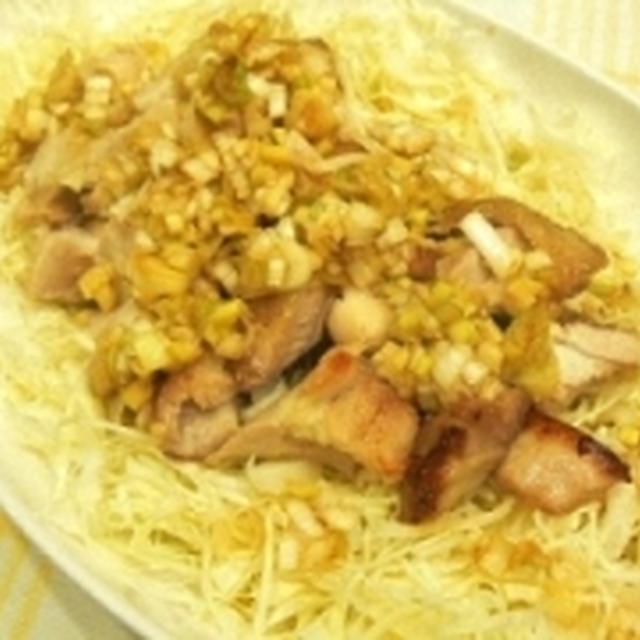 【うちレシピ】鶏肉のパリパリ焼き★ネギポン酢でさっぱり