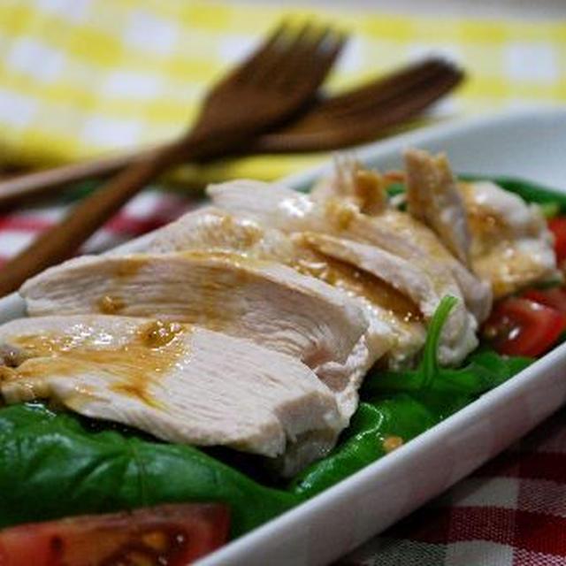 鶏むね肉とフレッシュバジルのわさび醤油