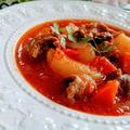とろとろ牛スジへの道★オレガノトマトスープ