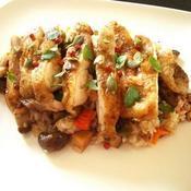 ガラムマサラ風味チキンと野菜とキノコのオーブン焼きライス