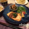 豆腐ステーキ。粒マスタードソース♪かぼす添え
