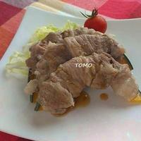 レンジで簡単♪リケンのノンオイル中華ごま de 豚肉のかぼちゃ巻き