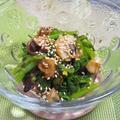 焼きサザエと菜っ葉の実山椒和え