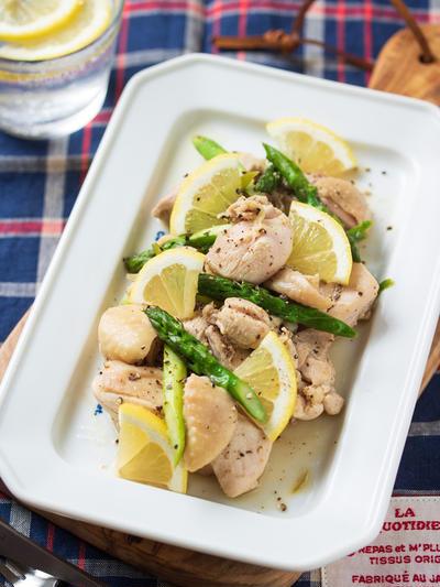 鶏肉とアスパラの塩レモンだれ【#簡単 #節約 #時短 #下味冷凍 #主菜】