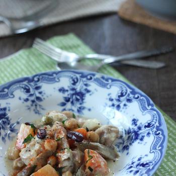 鶏肉と新牛蒡とミックスビーンズのクリーム煮 2月のお料理教室「お料理&エクササイズ」
